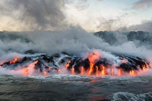 Lava flowing into the ocean, Big Island, Hawaii