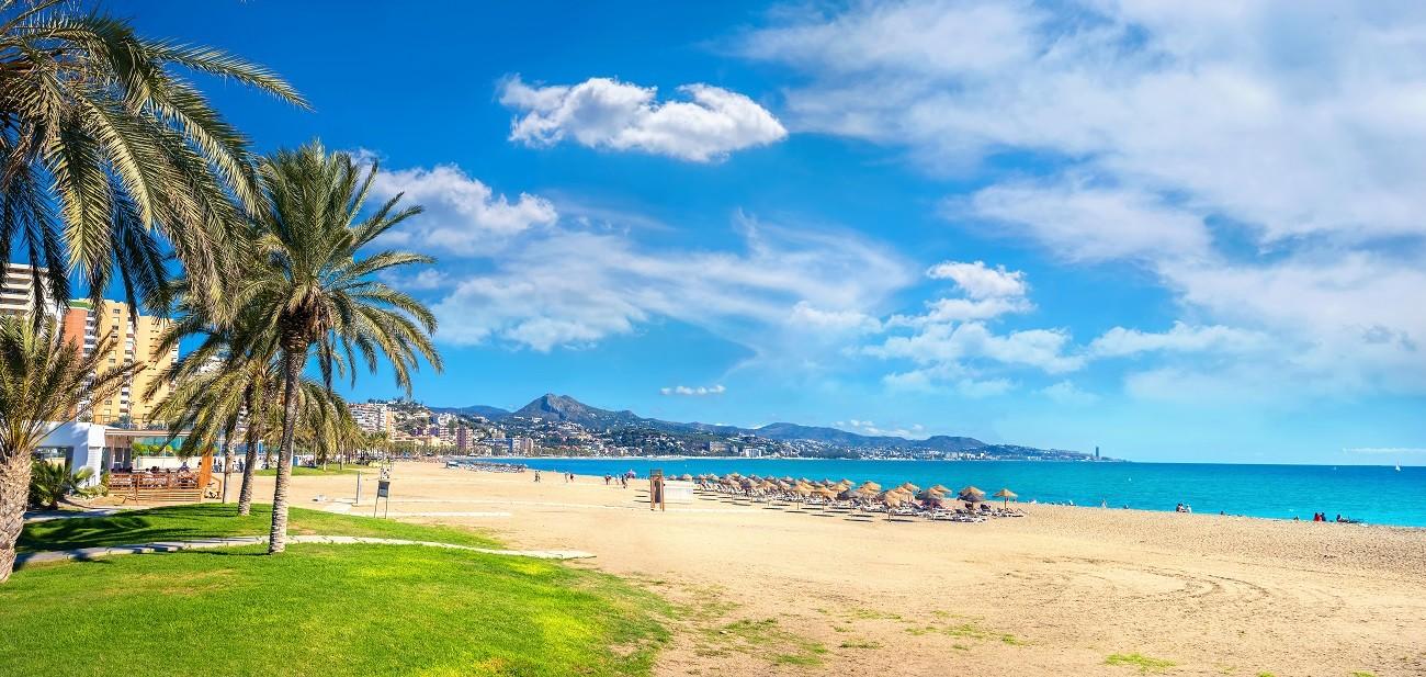 Banner, Malagueta beach in Malaga. Spain, Spania