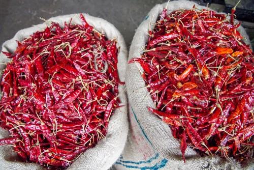 Chillis in sacks at the Pettah market, Colombo, Sri Lanka