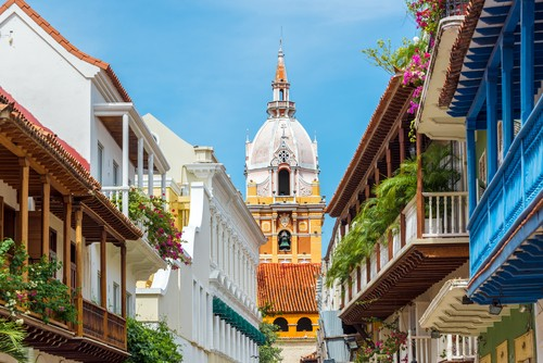 View of the cathedral in Cartagena de Indias, Colombia