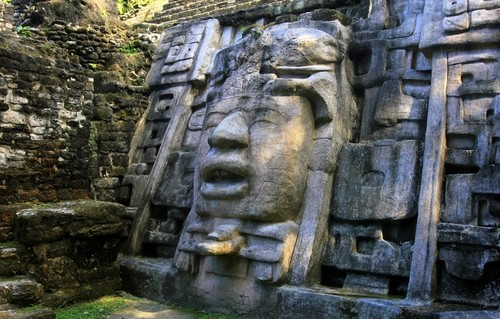 The Mask Temple in Mayan city of Lamanai, Belize