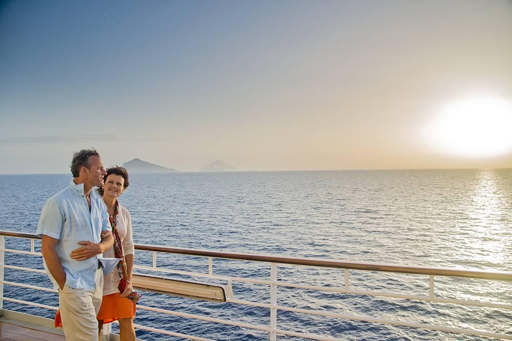 Sunset couple on deck