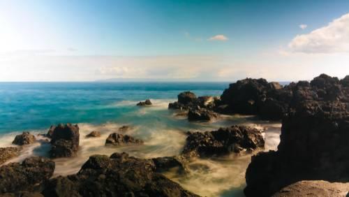 Landskapsbilde med sjø, Horta, Azorene