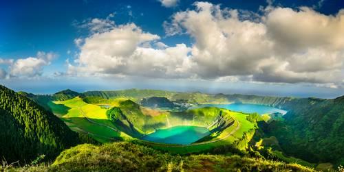 Blå og grønne innskjøer, Ponta Delgada, Azorene