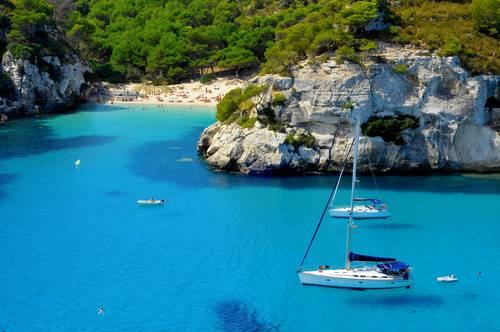 Seiling båt Menorca, Balearene, Spania